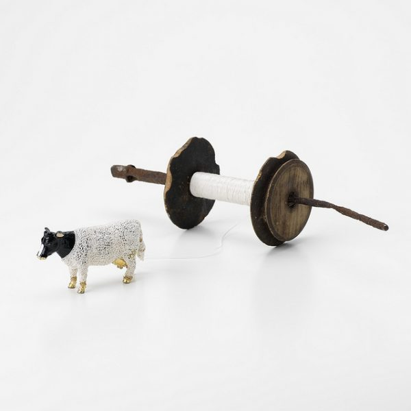 Cow and Spool, work produced by contemporary applied artist Deirdre Nelson as part of a residency at Taigh Chearsabhagh, 2008