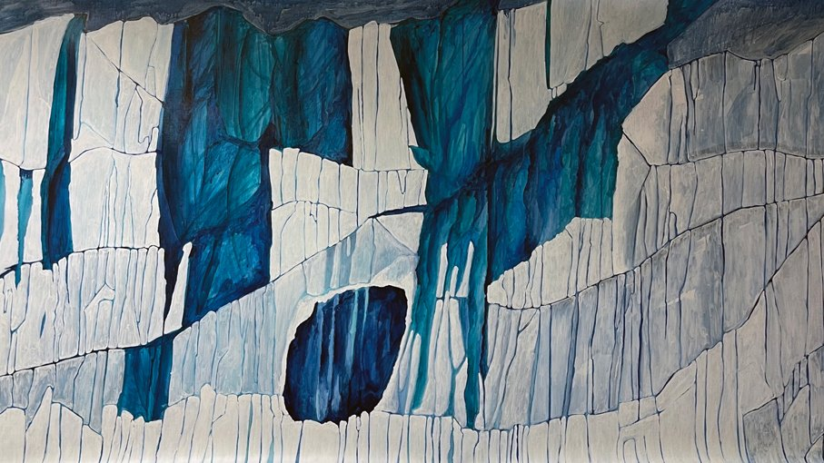 Blue and white ink drawing of a glacier