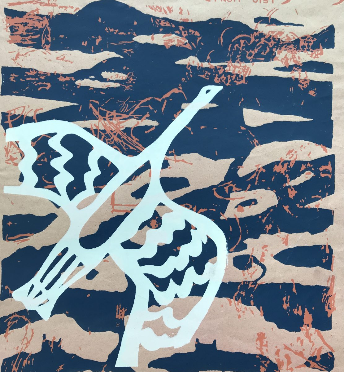 A relief print of a bird flying over water.